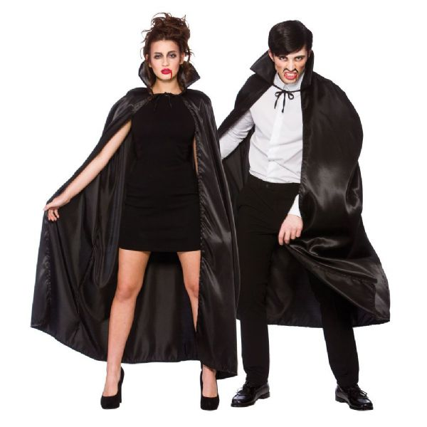 Adult Deluxe Satin Cape with Collar - Black